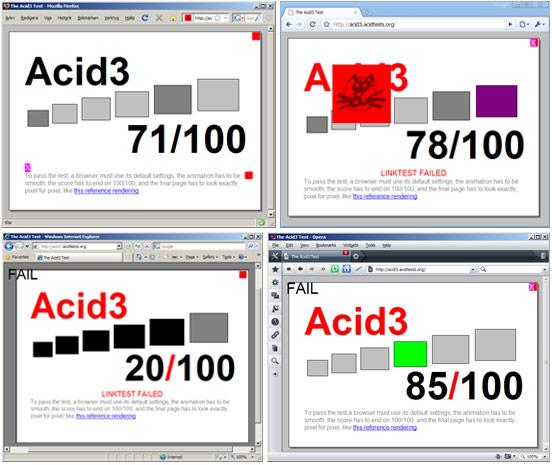 Acid3 i andra webbläsare