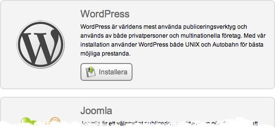WordPress i One Click Installern