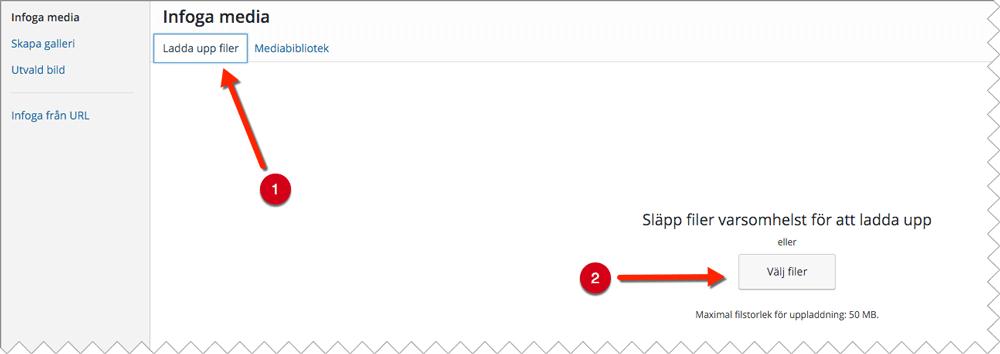För att infoga en bild i WordPress klickar du på knappen Lägg till media och därefter Ladda upp filer