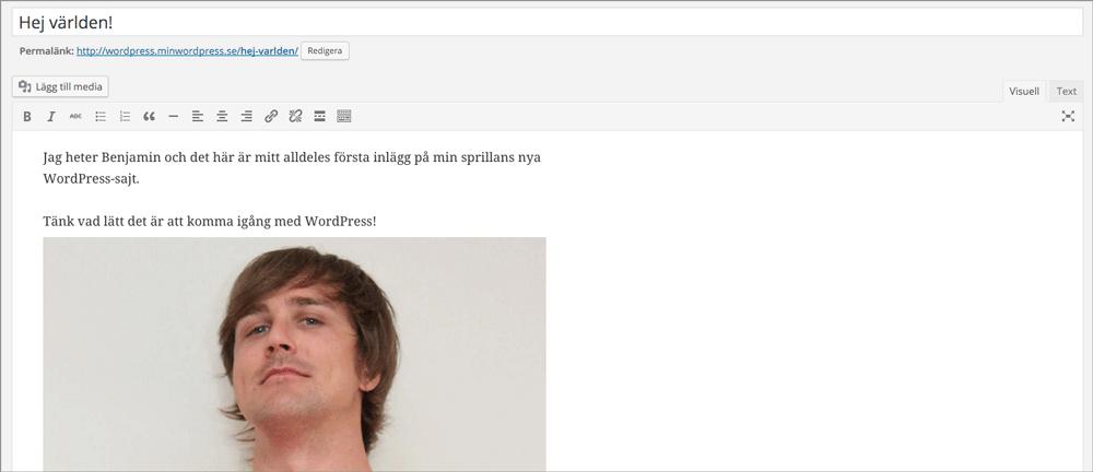 För att infoga en bild i WordPress klickar du på knappen Lägg till media, Ladda upp filer och till sist Infoga i innehåll