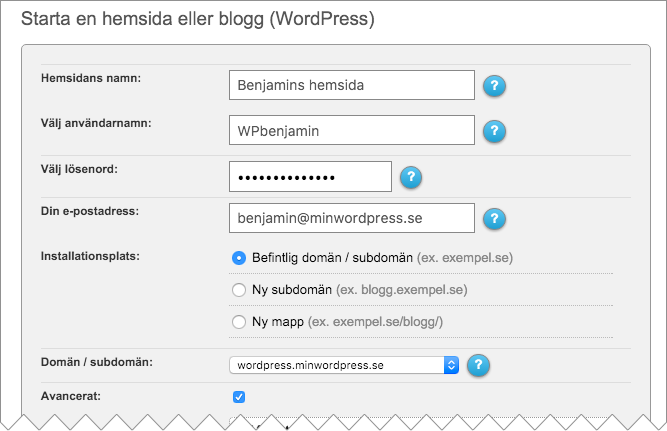 Välj ifall du vill installera WordPress hos Loopia på din befintliga domän, på en subdomän eller i en ny mapp