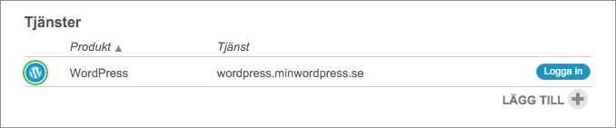 Logga in i WordPress hos Loopia genom att klicka på din WordPress-sidas namn i Loopia Kundzon under rubriken Tjänster