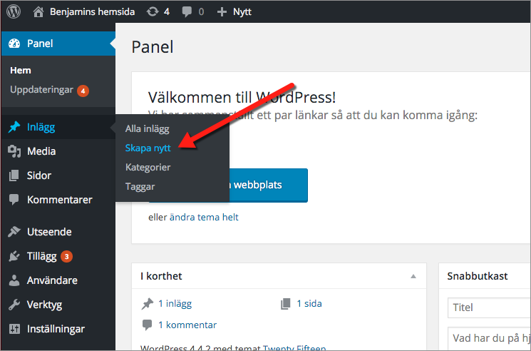 Logga in i WordPress kontrollpanel hos Loopia och välj Inlägg och Skapa nytt