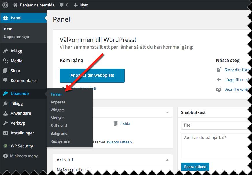 För att ändra tema i WordPress loggar du in i kontrollpanelen och väljer Utseende och Teman i vänsterspalten