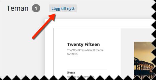 Välj tema till WordPress via Utseende, Teman, Lägg till nytt