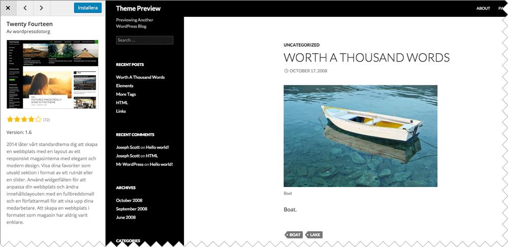 När du har hittat ett tema för WordPress som passar dig kan du förhandsgranska det för att se hur det kommer att se ut