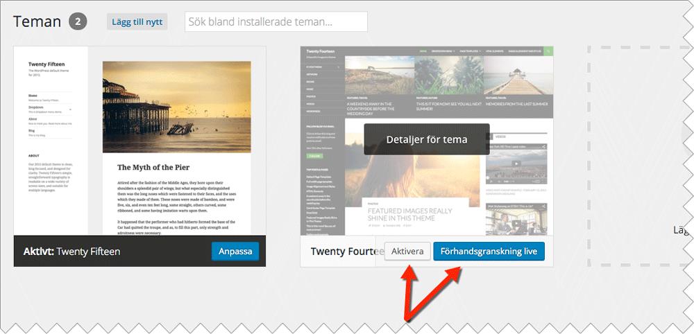 När du har laddat ner det tema för WordPress som passar dig aktiverar du det för att implementera det på din sida.
