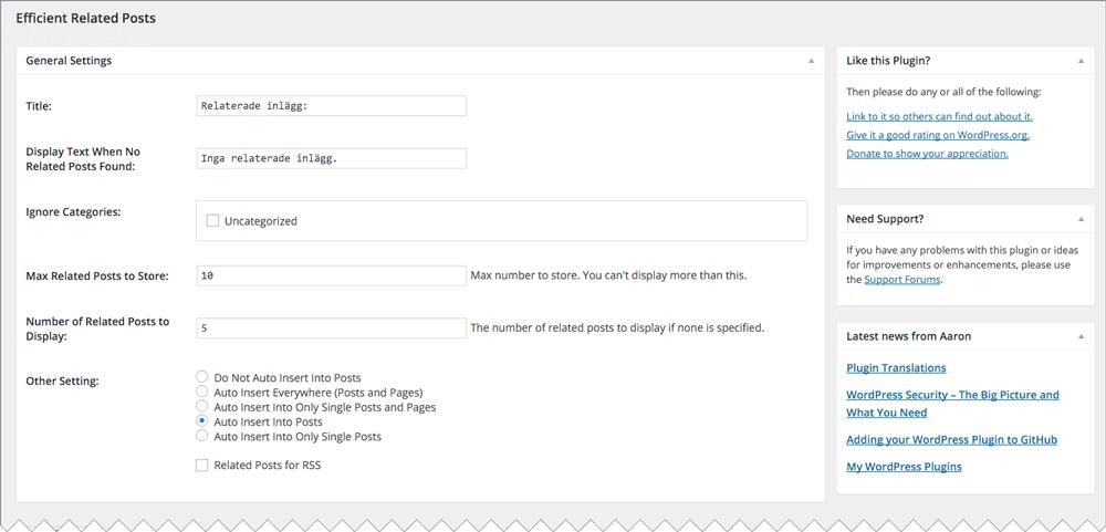 """När du har ändrat inställningarna för tillägget klickar du på """"Update Options"""" för att spara dem."""