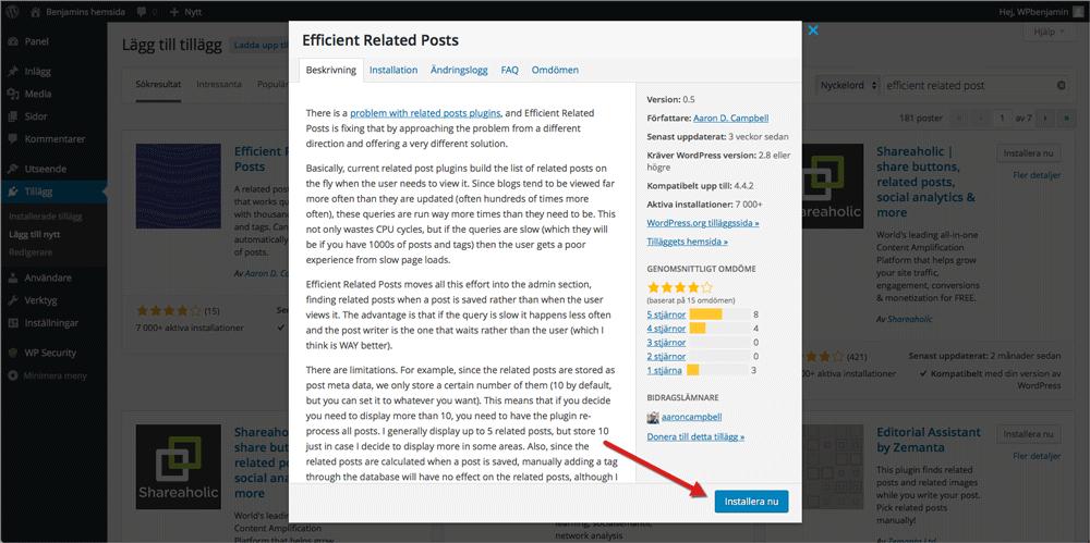 """Klicka på det tillägg du vill ha och därefter på """"Installera nu"""" för att installera det på din WordPress-sida."""