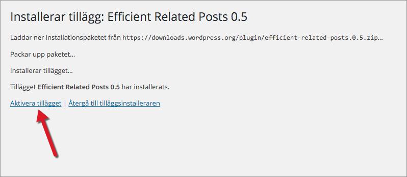"""När installationen är klar aktiverar du tillägget genom att klicka på """"Aktivera tillägget""""."""