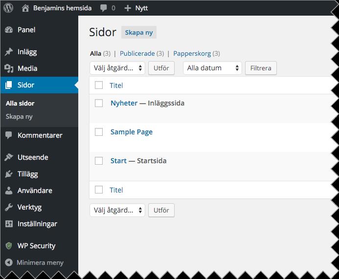 """Navigera till """"Sidor"""" och din nyskapade sida """"Start"""" för att redigera sidan."""