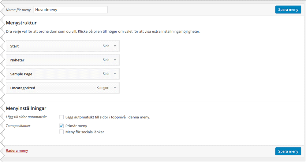 """Under """"Menyinställningar > Temapositioner"""" klickar du i """"Primär meny"""" och sparar ändringarna."""