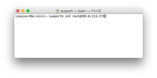Skärmdump från anslutning till din VPS från en Mac mini.