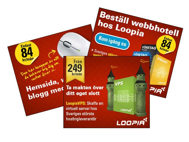 Tjäna pengar på din hemsida genom att bli affiliate hos Loopia - Välj bland bl a dessa banners.