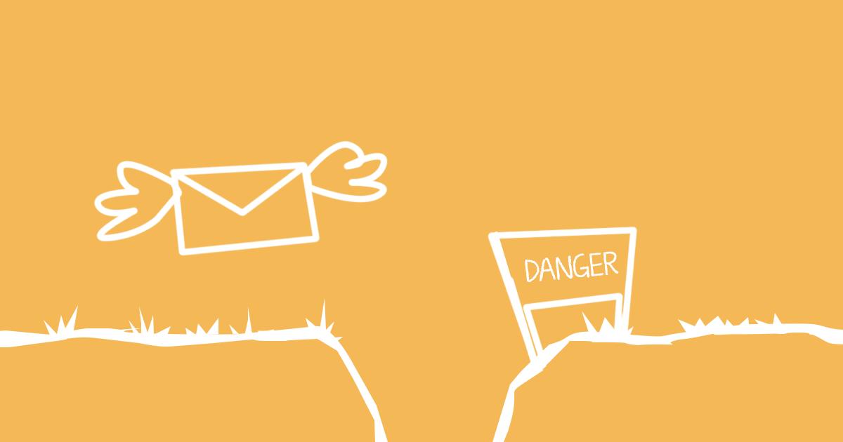 Illustration av klippan mellan trovärdiga e-postutskick och skräppost