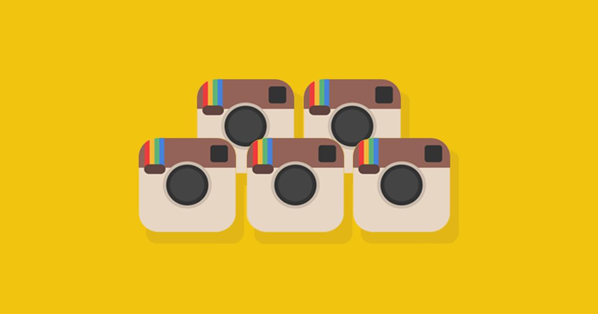 Instagram-logon x 5 som illustrerar hur du nu kan växla mellan upp till 5 konton på Instagram utan att behöva logga ut och in som tidigare.