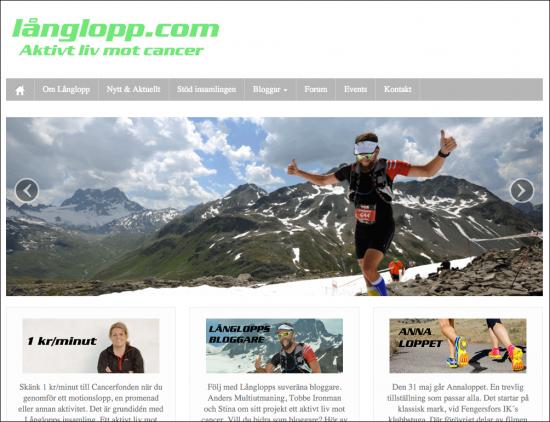 Skärmdump från långlopp.com.