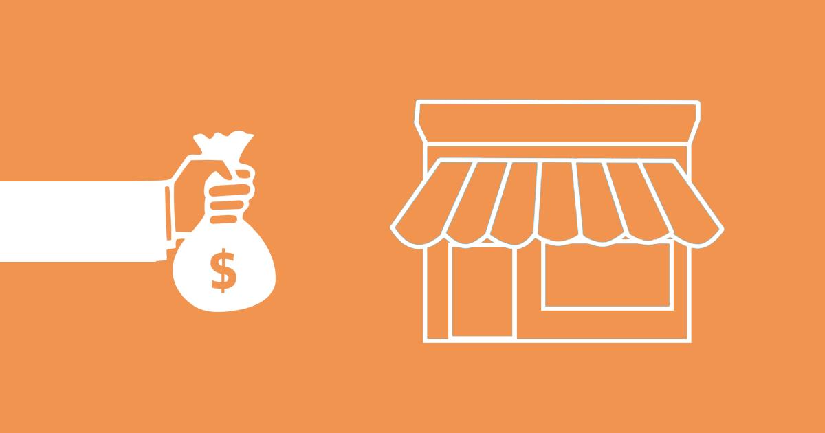 Myntpåse och en affär som illustrerar hur du ökar din konverteringsgrad med hjälp av merförsäljning.