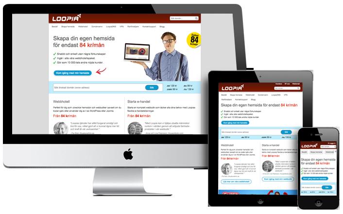 Skärmar av olika slag med skärmdumpar av loopia.se, som visar att sajten är mobilvänlig.