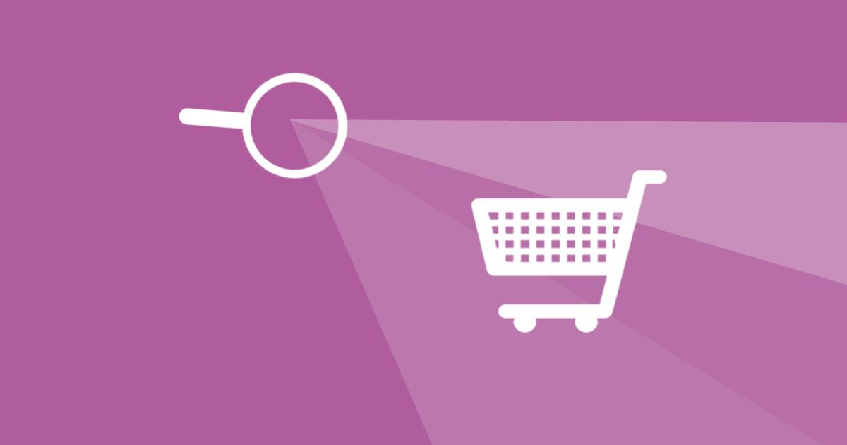 Bild på ett förstoringsglas och en kundvagn som illustrerar hur viktigt det är att mäta och analysera din webbutik, för att kunna öka dess konverteringsgrad.
