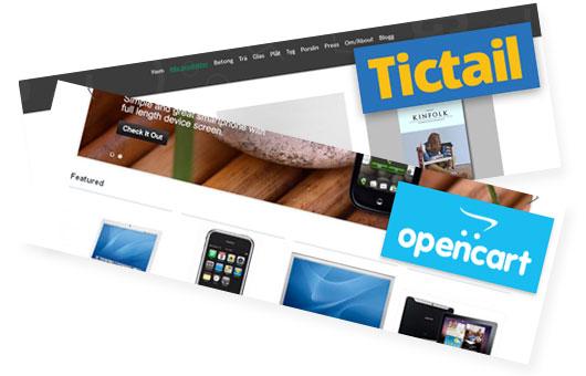 OpenCart och Tictail är två av de e-handelslösningar Loopia erbjuder.
