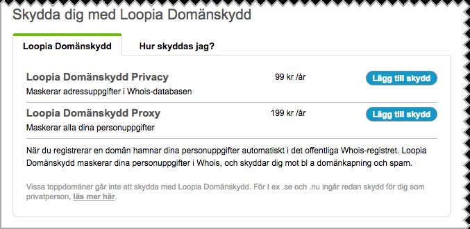 Skärmdump från Loopia Kundzon vid beställning av Loopia Domänskydd.