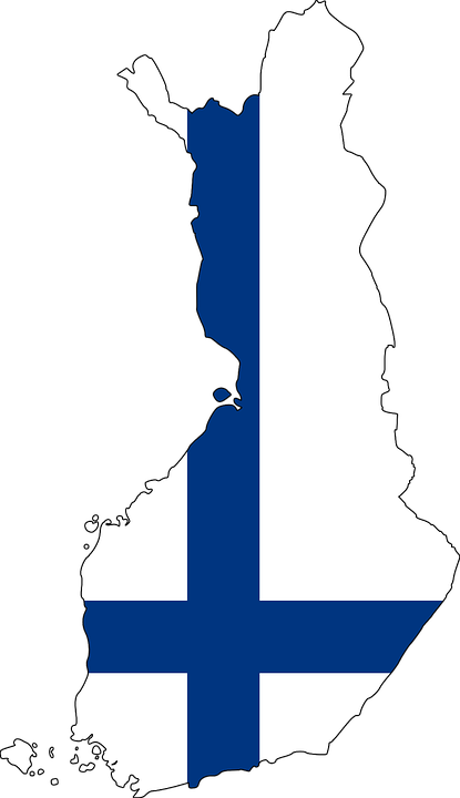 Finsk flagga målad på finsk karta. fi-domännamn är Finlands landsdomän.