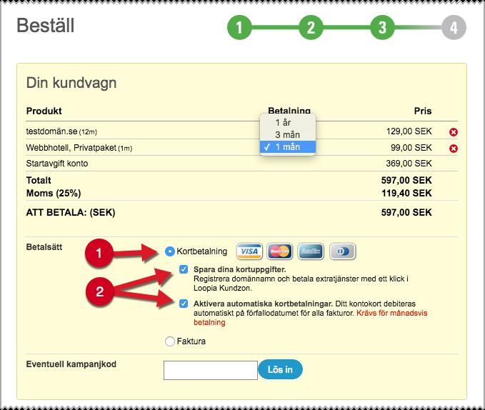 Skärmdump från Loopia Kundzon som visar var du väljer automatiska betalningar