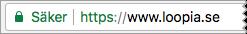 En sajt med en https-adress visas som 'Säker' i Google Chrome.