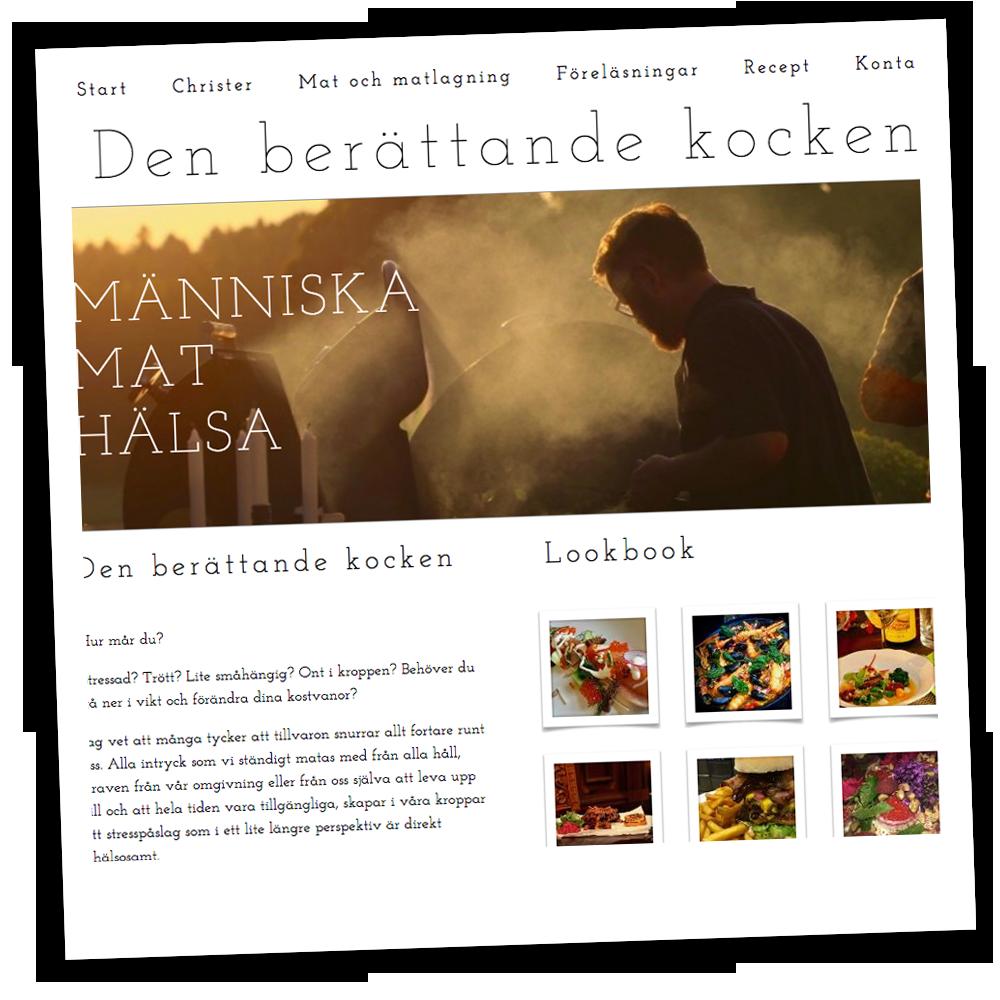 Loopia-kunden Christer driver hemsidan berattandekocken.se som han skapat i Loopia Sitebuilder.