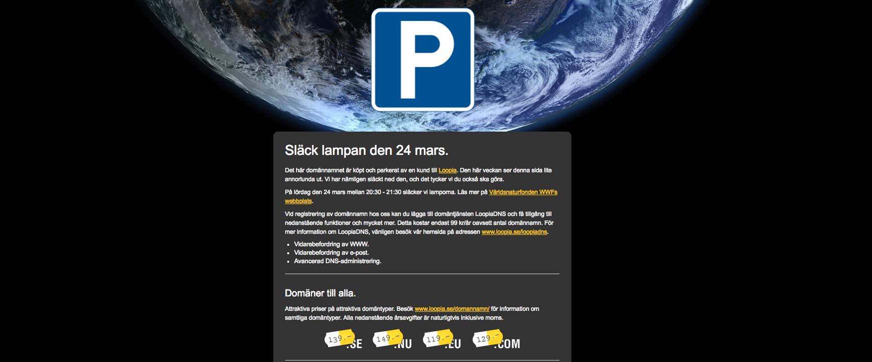 Skärmdump av Loopias parkerat-sida under Earth hour.