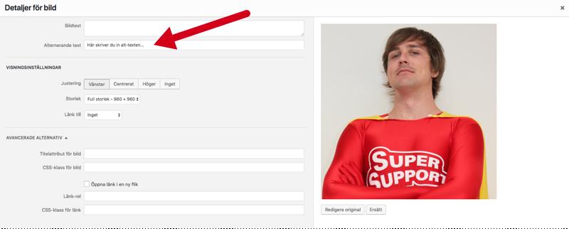 Skärmdump från WordPress kontrollpanel som visar var du lägger in en alt-text för en bild