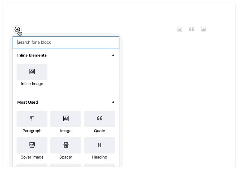 Skärmdump från WordPress editor Gutenberg