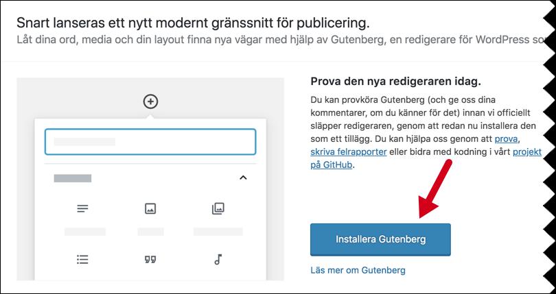 Skärmdump från WordPress kontrollpanel