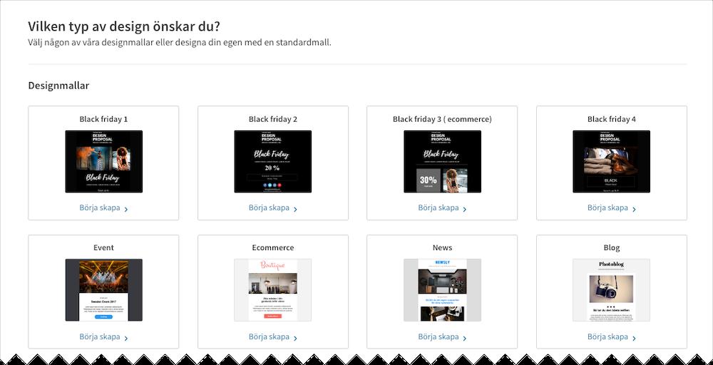 Skärmdump från Loopias nyhetsbrevsverktyg - Välj en mall