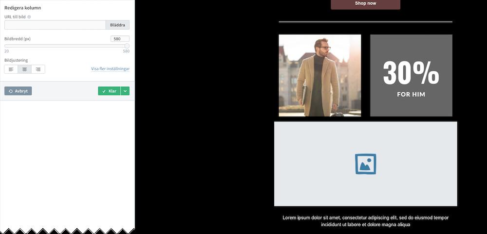 Skärmdump från Loopias nyhetsbrevstjänst - lägga till bild