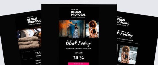 Exempel på Black Friday-teman att välja bland i Loopias nyhetsbrevsverktyg