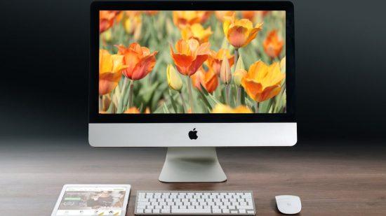 iMac som visar ett fång med tulpaner till dig som ska vårstäda företagets