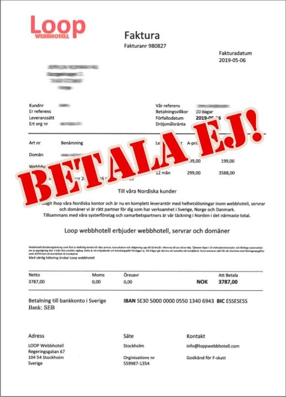 Exempel på en falsk bluffaktura från Loop Webbhotell