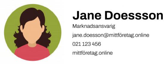 Exempel på en mail signatur med profilbild till vänster och namn, titel och kontaktuppgifter till vänster