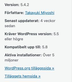 Information för WordPress tillägget Contact Form 7